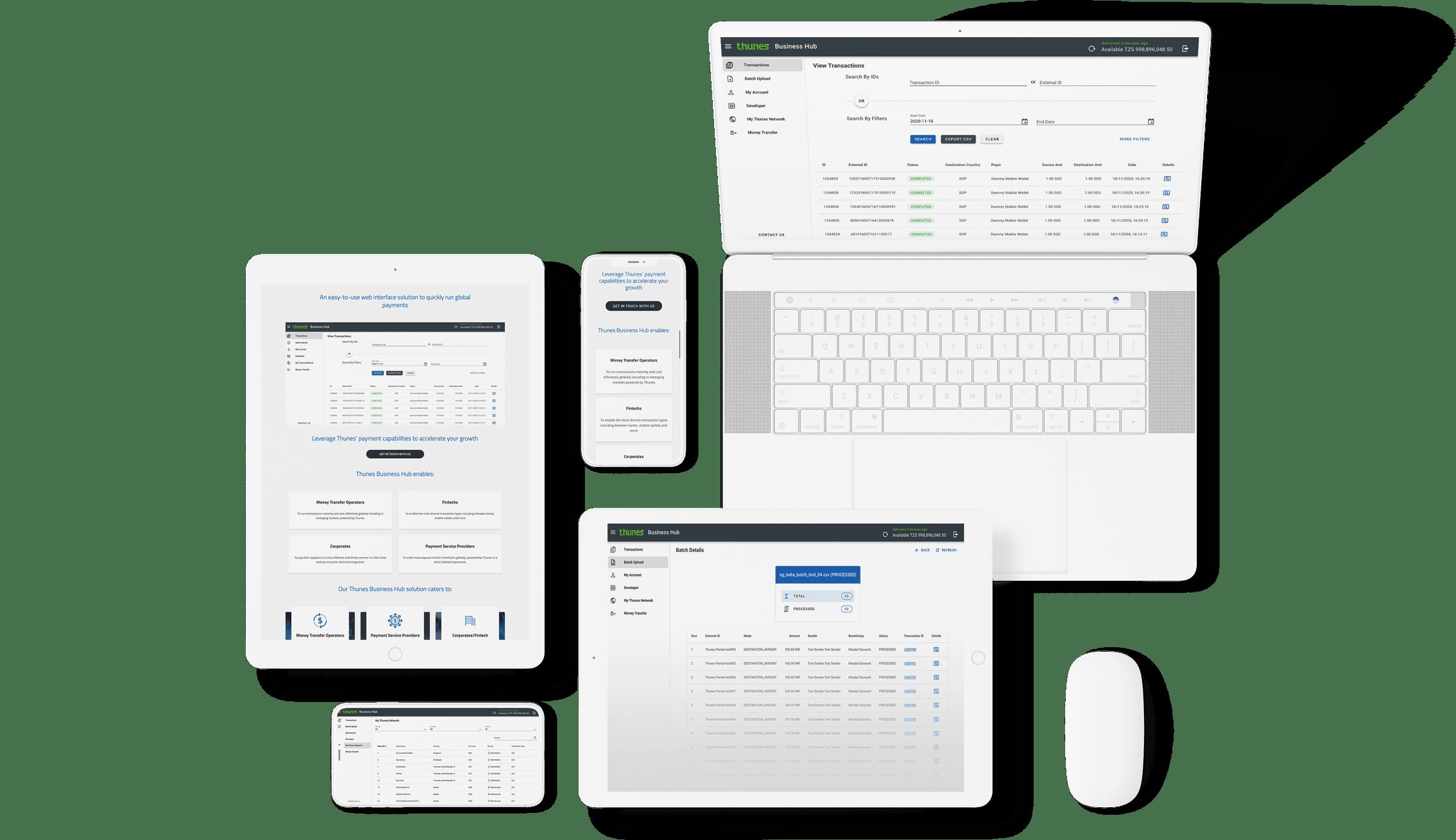 Thunes Business Hub Interface